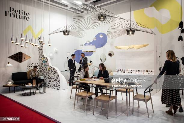 Fairgoers visit the Petite Friture display stand during the Salone Internazionale del Mobile at Fiera di Rho on April 17 2018 in Milan Italy Every...
