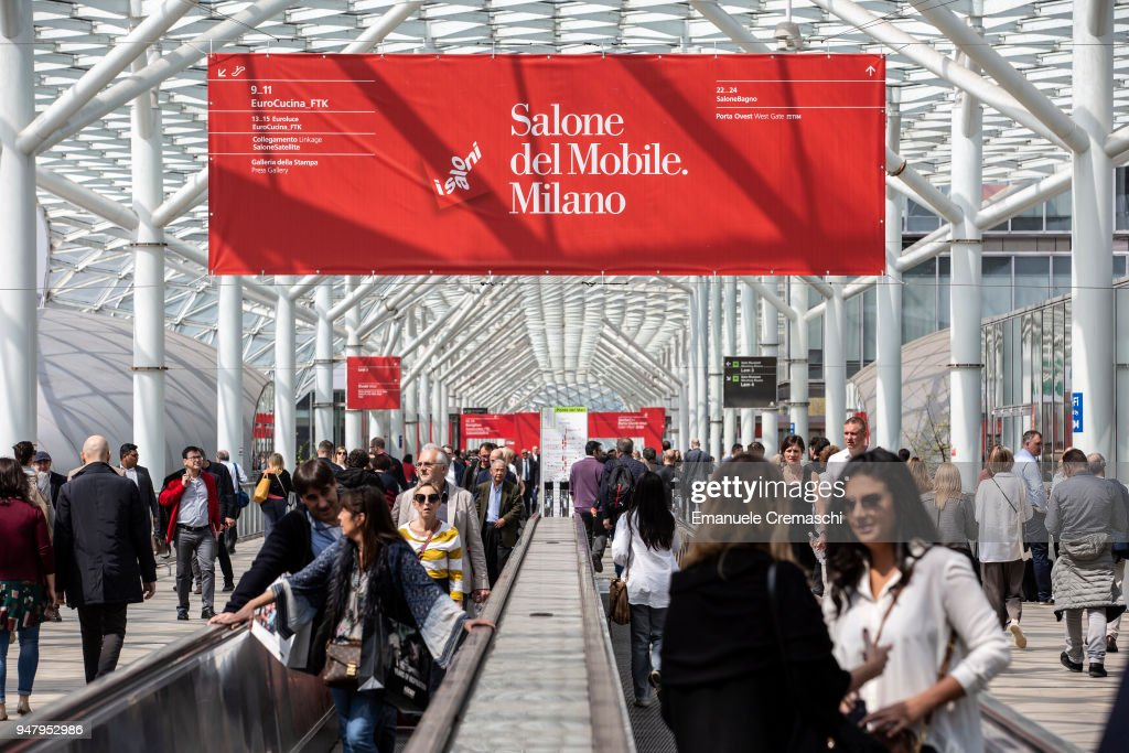 Fairgoers visit the Salone Internazionale del Mobile at Fiera di Rho on April 17, 2018 in Milan, Italy. Every year, Salone and Fuorisalone define the Milan Design Week, the most important event in the world for design. With over 2.000 exhibitors, the Salone Internazionale del Mobile (Milan Furniture Fair) is the largest furniture fair in the world. Beside that, the Fuorisalone includes a set of 1.200 events distributed all over Milan.