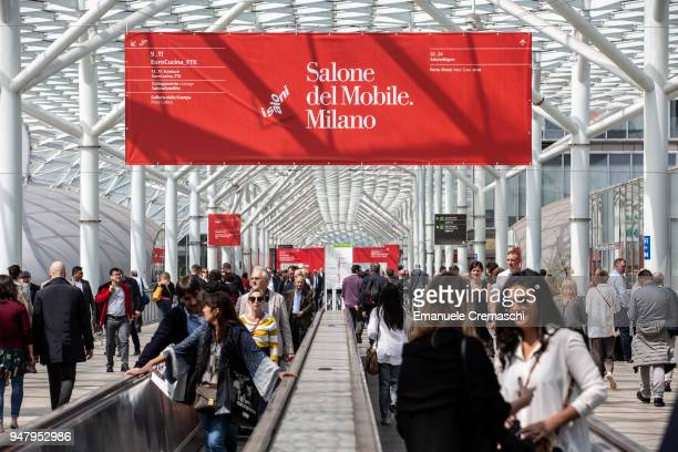 Fairgoers visit the Salone Internazionale del Mobile at Fiera di Rho on April 17 2018 in Milan Italy Every year Salone and Fuorisalone define the...