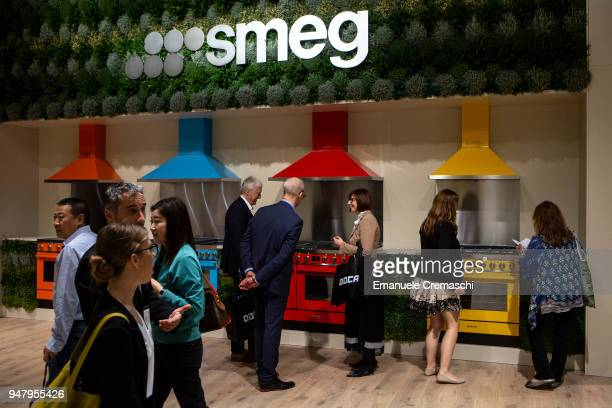 Fairgoers visit the SMEG display stand during the Salone Internazionale del Mobile at Fiera di Rho on April 17 2018 in Milan Italy Every year Salone...
