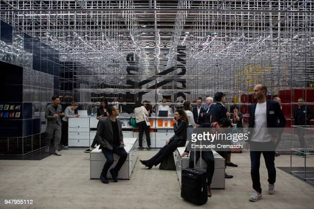 Fairgoers visit the USM display stand during the Salone Internazionale del Mobile at Fiera di Rho on April 17 2018 in Milan Italy Every year Salone...
