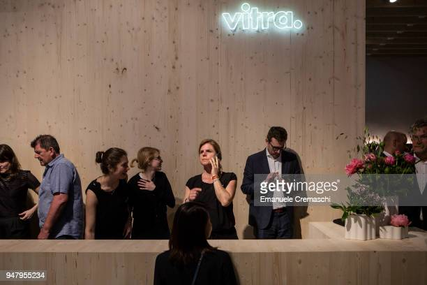 Fairgoers visit the Vitra display stand during the Salone Internazionale del Mobile at Fiera di Rho on April 17 2018 in Milan Italy Every year Salone...