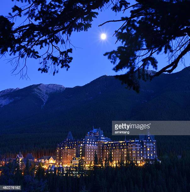 Fairmont Banff Springs Hotel with Moon