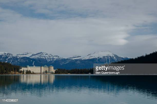 Lake Louise, Canada - October 19, 2018: Fairmont Chateau Hotel on the edge of Lake Louise in Banff National Park