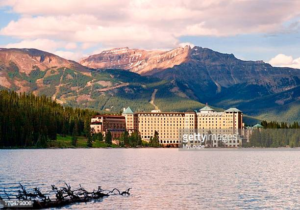 Fairmont Chateau Lake Louise hotel overlooking lake Louise in Banff National Park