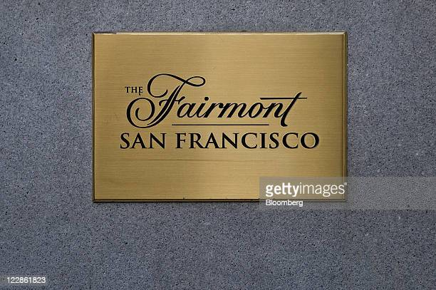 Fairmont Hotels Resorts Inc signage is displayed at the entrance of a location in the Nob Hill neighborhood of San Francisco California US on...