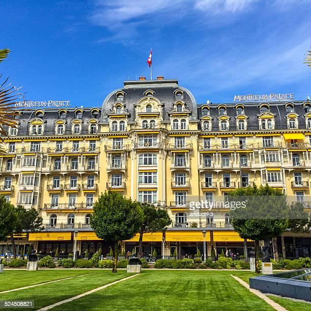 fairmont montreux palace hotel - montreux stock pictures, royalty-free photos & images