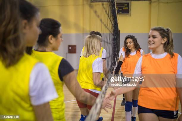 fairplay handshake - high school volleyball stock photos and pictures