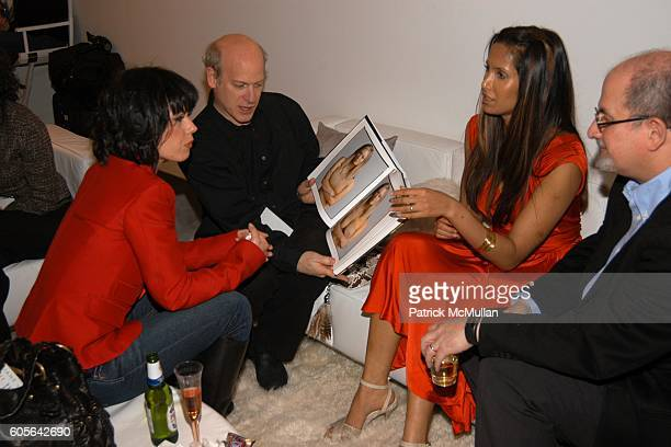Fairuza Balk Timothy GreenfieldSaunders Padma Lakshmi and Salman Rushdie attend OLYMPUS PHOTO STUDIO at Bryant Park on February 3 2006 in New York...