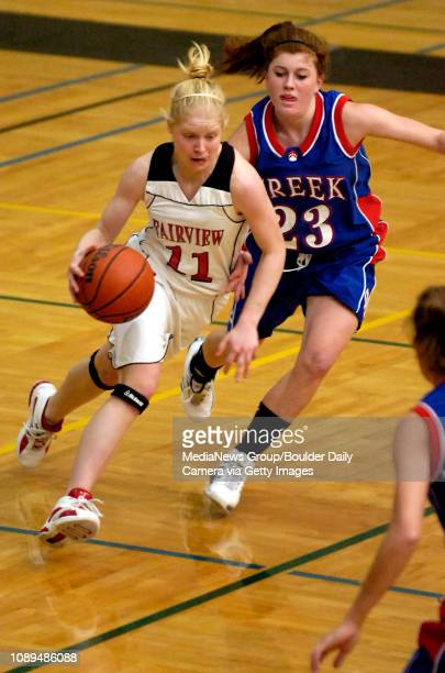 Fairview's Paige Narum drives past Cherry Creek's Allison Scholbe in the first half at Monarch High School in Louisville Colo on Saturday Jan 13 2007