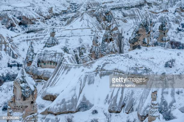 Fairy chimneys are seen after heavy snow in Cappadocia region of Nevsehir Turkey on January 25 2018
