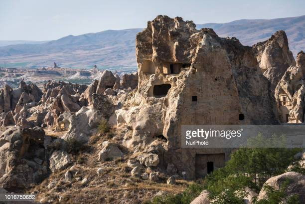 Fairy chimneys desert landscapes and historic caves that are iconic tourist attractions in the Goreme Open Air Museum or Goreme Acik Hava Muzesi of...