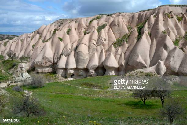 Fairy chimneys, forms of erosion in the volcanic tuff in Pigeon Valley near Uchisar, Goreme National Park , Cappadocia, Turkey.