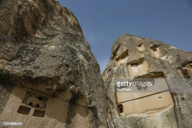 Fairy chimneys in Cappadocia in Nevsehir province in Central Anatolia Turkey The fairy chimneys are the iconic conic shaped rock formations with...