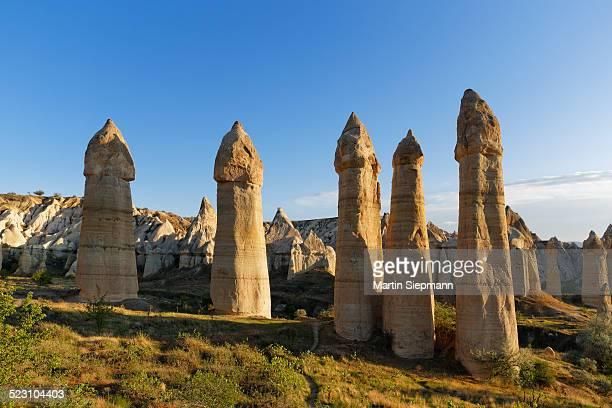 Fairy chimneys, phallus-shaped tufa formations, Love Valley, Goreme National Park, Cappadocia, Nevsehir Province, Central Anatolia Region, Turkey