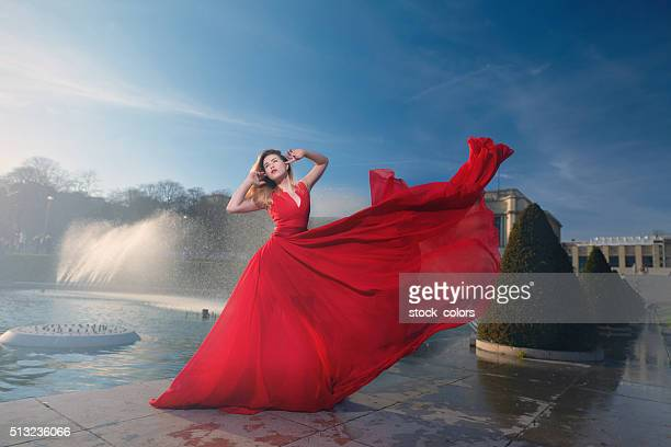 fairy fashion woman - wind blowing up skirts stock photos and pictures