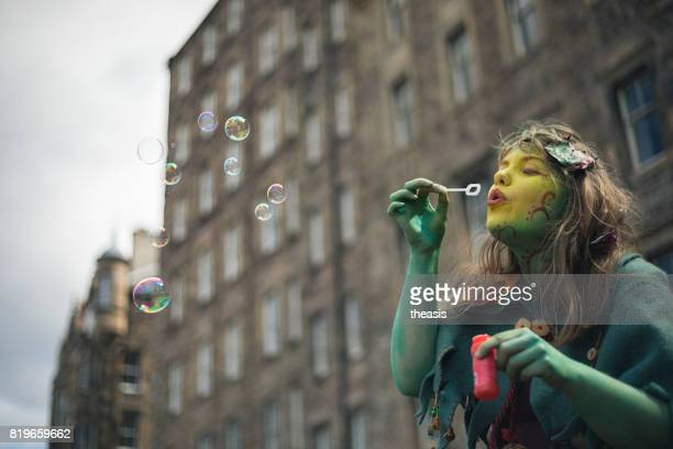 Fairy Performer Blowing Bubbles