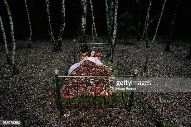 a fairy princess asleep in forest bed - fairytale stock pictures, royalty-free photos & images