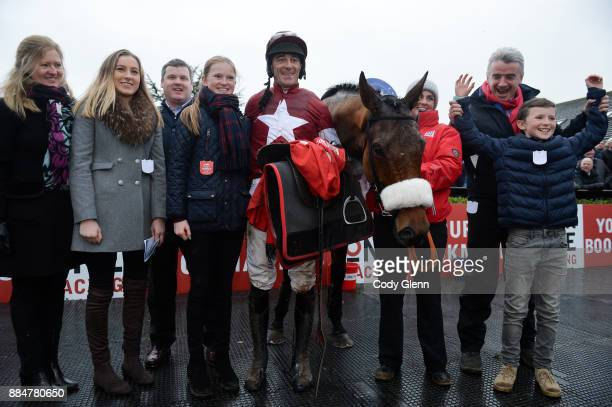 Fairyhouse Ireland 3 December 2017 Jockey Davy Russell trainer Gordon Elliott third from left with owner Michael O'Leary and the winning connections...