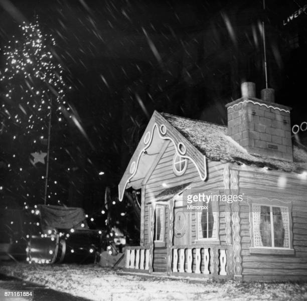 Fairyland in Liverpool this was the scene as the snow fell on Liverpool and the city's Christmas tree and Santa's grotto 20th December 1955