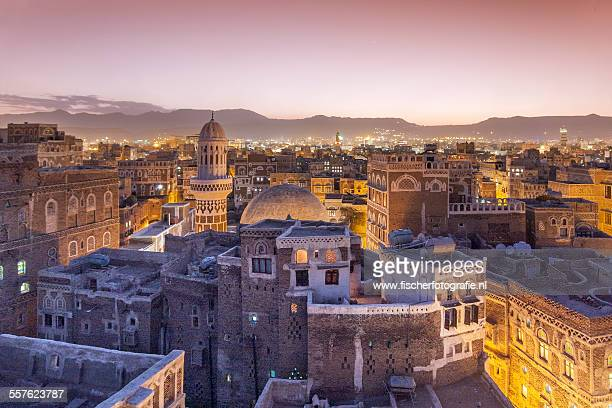fairytale sunrise in the old town of sana'a - yemen - fotografias e filmes do acervo