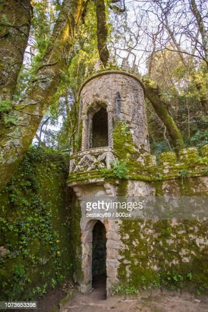 fairytale tower in quinta da regaleira, sintra - quinta da regaleira photos stock pictures, royalty-free photos & images