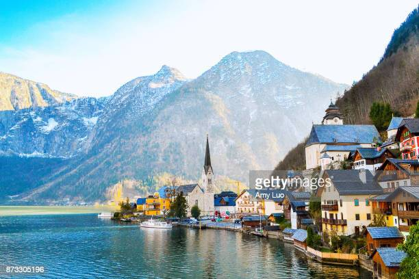 fairytale town of hallstatt, austria - austria stock photos and pictures