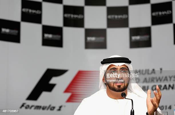 Faisal Al Sheikh, Director Events Bureau, TCA Abu Dhabi address a press conference to announce the 2014 Formula One Etihad Airways Abu Dhabi Grand...