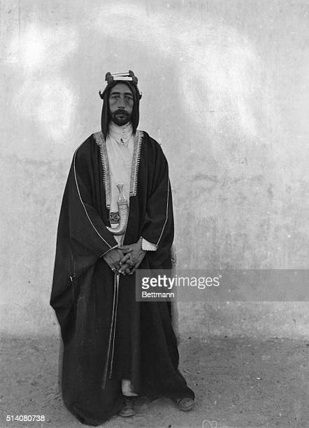 Faisal I installed as King of Iraq by the British and became a leader of Arab Nationalism Fulllength portrait of Faisal I in typical garb common of...