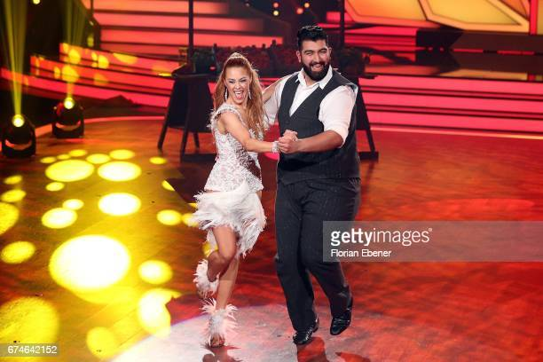 Faisal Kawusi and Oana Nechiti perform on stage during the 6th show of the tenth season of the television competition 'Let's Dance' on April 28 2017...