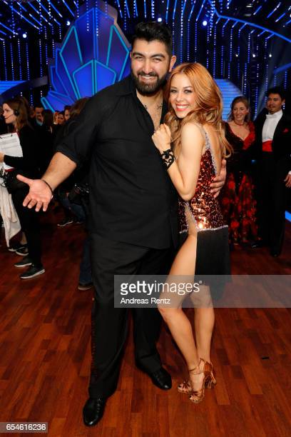 Faisal Kawusi and Oana Nechiti pose after the 1st show of the tenth season of the television competition 'Let's Dance' on March 17 2017 in Cologne...