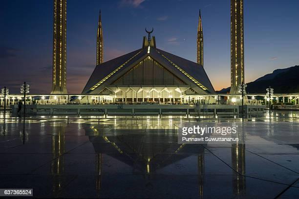 Faisal mosque at night with reflection, Landmark of Islamabad city, Pakistan