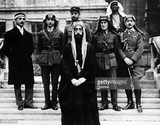 Faisal son of Hussain of Mecca with his delegates and advisors at the Versailles peace conference 22nd January 1919 Faisal was briefly king of Syria...