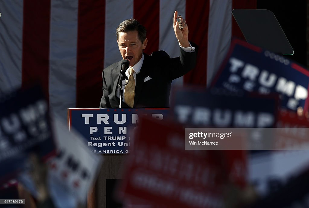 Faith and Freedom Coalition Founder Ralph Reed delivers remarks at a campaign event for Republican presidential candidate Donald Trump at Regent University October 22, 2016 in Virginia Beach, Virginia. The U.S. holds its presidential election in 17 days.
