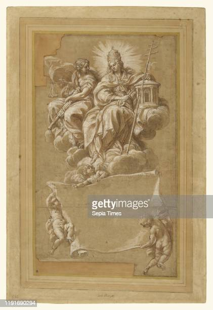 Faith and Justice Enthroned Carlo Maratti Italy about 1676 Pen and brown ink brown wash red chalk heightened with white gouache on brown paper cut in...