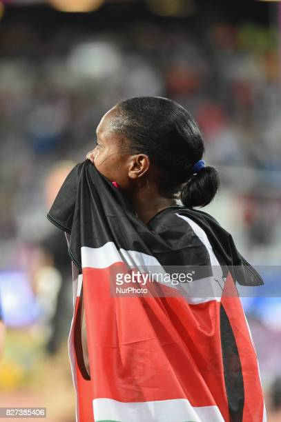 Faith Chepngetich KIPYEGON Kenya celebrating after winning 1500 meter final in London on August 7 2017 at the 2017 IAAF World Championships athletics