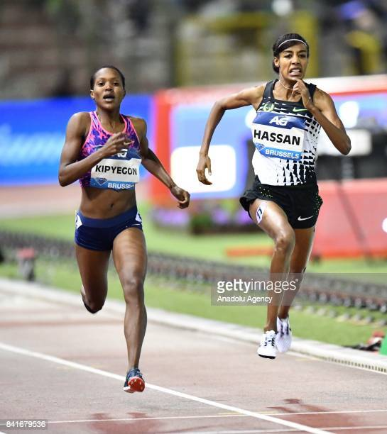 Faith Chepngetich Kipyegon of Kenya and Sifan Hassan of Sweden competes in the women's 1500 metres during the IAAF Diamond League Memorial Van Damme...