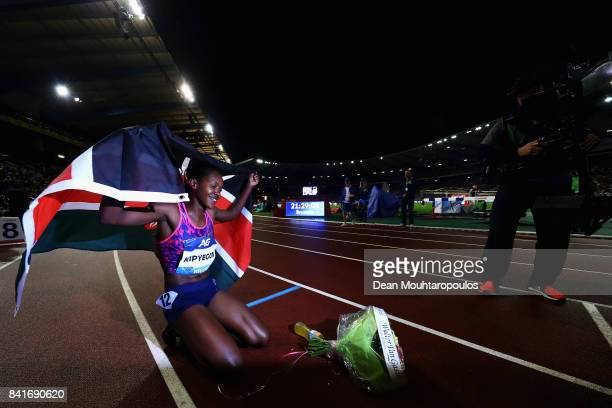 Faith Chepngetich Kipyegon of Kenya celebrates after winning the 1500m Womens Final during the AG Memorial Van Damme Brussels as part of the IAAF...