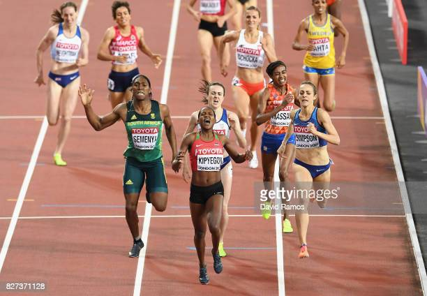 Faith Chepngetich Kipyegon of Kenya gold Jennifer Simpson of the United States silver and Caster Semenya of South Africa bronze race to the...