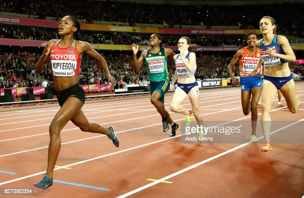 Faith Chepngetich Kipyegon of Kenya gold Jennifer Simpson of the United States silver and Caster Semenya of South Africa bronze and Laura Muir of...