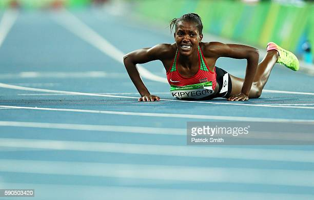 Faith Chepngetich Kipyegon of Kenya reacts after winning the gold medal in the Women's 1500m Final on Day 11 of the Rio 2016 Olympic Games at the...