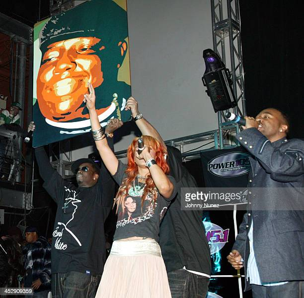 Faith Evans and 112 during Power 105 FM's 3rd Anniversary Party Celebrating Notorious BIG at Exit in New York City New York United States