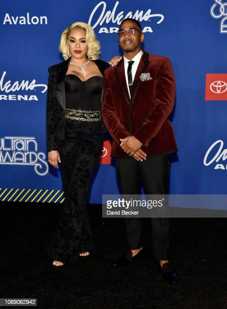 Faith Evans and her husband Stevie J attend the 2018 Soul Train Awards at the Orleans Arena on November 17, 2018 in Las Vegas, Nevada.