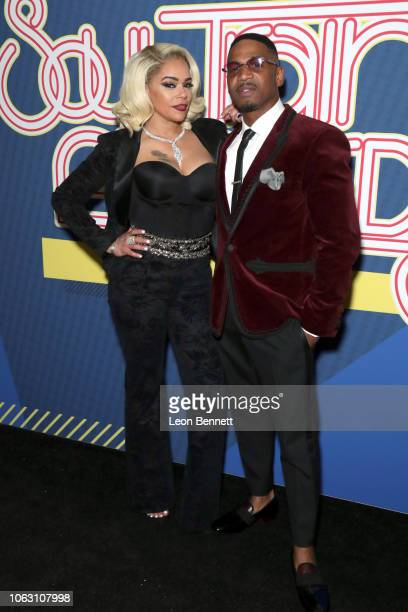Faith Evans and her husband Stevie J attend the 2018 Soul Train Awards, presented by BET, at the Orleans Arena on November 17, 2018 in Las Vegas,...