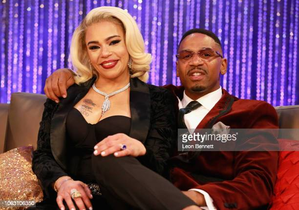 Faith Evans and her husband Stevie J attend the Post Show for the 2018 Soul Train Awards presented by BET at the Orleans Arena on November 17 2018 in...