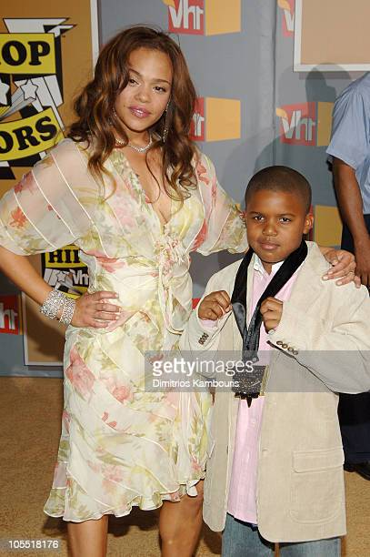 Faith Evans and her son Christopher Wallace Jr during 2005 VH1 HipHop Honors Arrivals at Hammerstein Ballroom in New York City New York United States