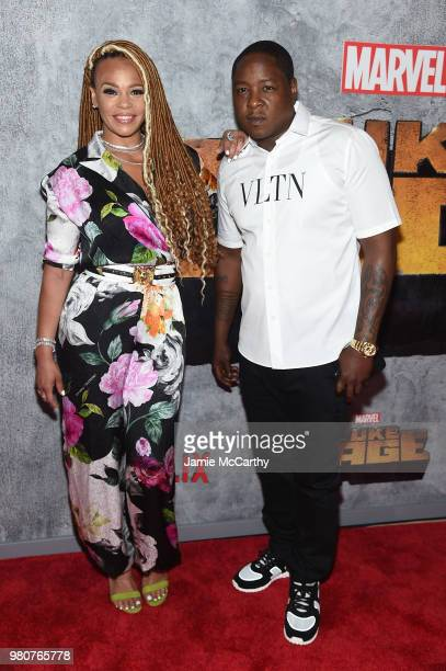 Faith Evans and Jadakiss attend the 'Luke Cage' Season 2 premiere at The Edison Ballroom on June 21 2018 in New York City