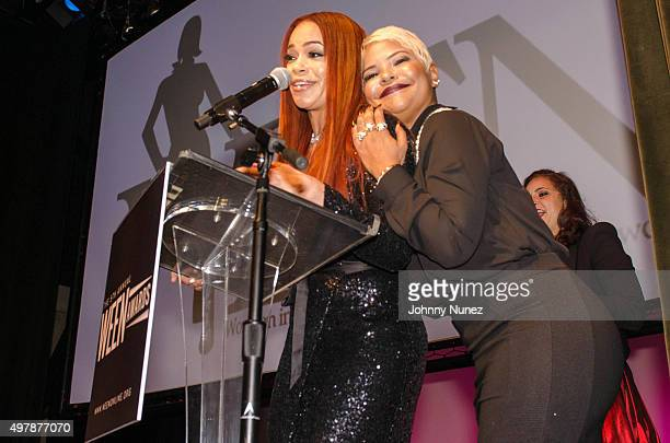 Faith Evans and Misa Hylton appear onstage during the 2015 WEEN Awards at The Schomburg Center for Research in Black Culture on November 18 in New...