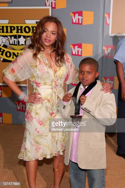 Faith Evans and son Christopher Wallace Jr during 2005 VH1 Hip Hop Honors Arrivals at Hammerstein Ballroom in New York City New York United States