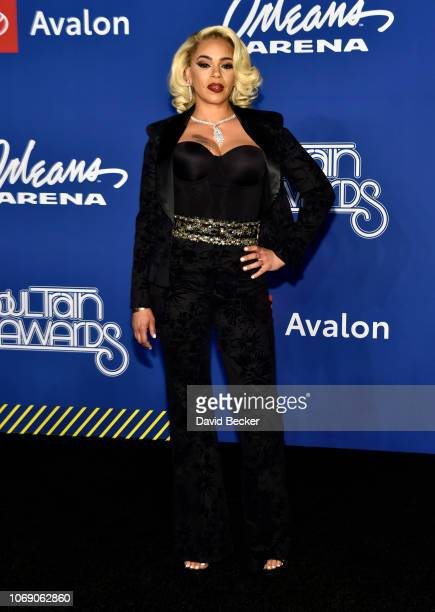 Faith Evans attends the 2018 Soul Train Awards at the Orleans Arena on November 17 2018 in Las Vegas Nevada